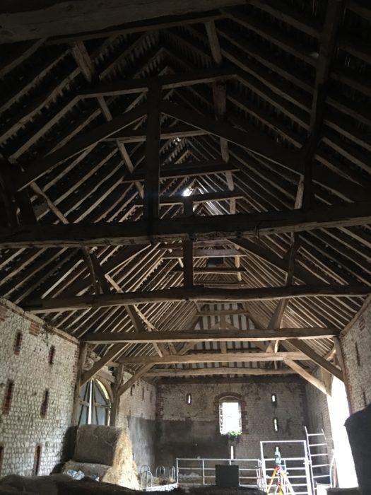 Inside of Columba's Barn. Beautiful early Victorian oak timbering.